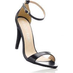 Sandały bonprix czarny. Czarne rzymianki damskie bonprix, w paski, ze skóry, na obcasie. Za 79,99 zł.