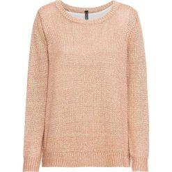 Sweter dzianinowy z szyfonową wstawką bonprix biel wełny - miedziany melanż. Białe swetry klasyczne damskie bonprix, z dzianiny. Za 129,99 zł.