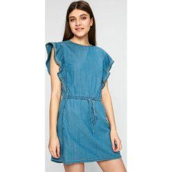 Pepe Jeans - Sukienka. Niebieskie sukienki dzianinowe Pepe Jeans, na co dzień, l, casualowe, mini, rozkloszowane. W wyprzedaży za 229,90 zł.