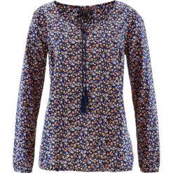 Bluzka bawełniana z długim rękawem bonprix ciemnoniebieski w kwiaty. Niebieskie bluzki asymetryczne bonprix, w kwiaty, z bawełny, z długim rękawem. Za 49,99 zł.