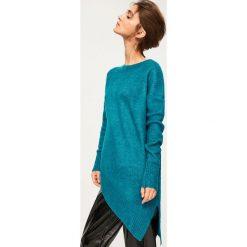 Długi sweter - Turkusowy. Niebieskie swetry klasyczne damskie marki bonprix, na lato, z bawełny, z okrągłym kołnierzem. Za 79,99 zł.