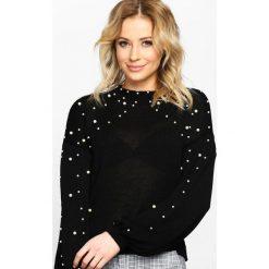 Swetry klasyczne damskie: Czarny Sweter Over The Shoulders