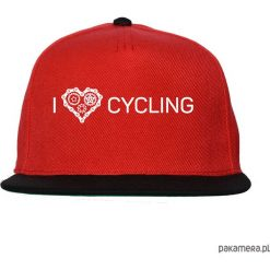 Czapka FullCap. I love cycling. Czerwone czapki z daszkiem damskie Pakamera, z nadrukiem. Za 69,00 zł.