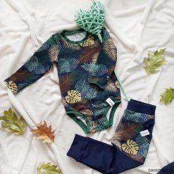 Body - jesienne liście. Szare body niemowlęce Pakamera, z jersey, z długim rękawem. Za 89,00 zł.