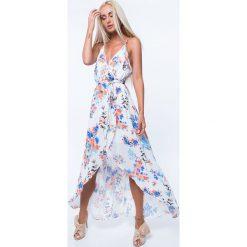 Sukienka zwiewna w kwiaty kremowa ZZ331. Białe sukienki Fasardi, l, w kwiaty. Za 79,00 zł.