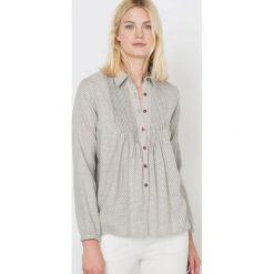 Flanelowa koszula w małe groszki. Szare koszule męskie na spinki La Redoute Collections, w grochy, z bawełny, z koszulowym kołnierzykiem, z długim rękawem. Za 136,50 zł.
