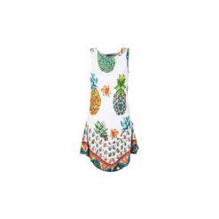 Sukienki krótkie Desigual  HOQLER. Białe sukienki mini marki Desigual, l, z krótkim rękawem. Za 244,30 zł.