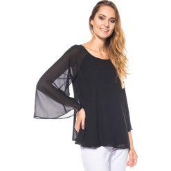 Bluzki asymetryczne: Czarna bluzka z rękawem typu nietoperz BIALCON