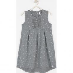 Sukienka. Szare sukienki dziewczęce dzianinowe OWL, w kropki, eleganckie, bez rękawów. Za 69,90 zł.