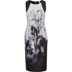 Sukienka bonprix czarno-biały w kwiaty. Czarne sukienki marki bonprix, w kwiaty, ołówkowe. Za 149,99 zł.