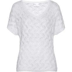 Sweter ażurowy bonprix biały. Białe swetry klasyczne damskie bonprix, na lato, z dzianiny. Za 129,99 zł.