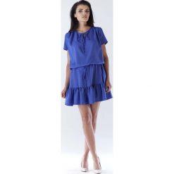 Niebieska Mini Sukienka w Stylu Boho z Krótkim Rękawem. Niebieskie sukienki boho Molly.pl, do pracy, na lato, l, w jednolite wzory, z tkaniny, z krótkim rękawem, mini. Za 139,90 zł.