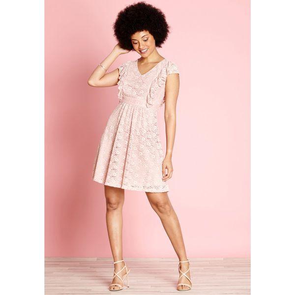 bca8f7259 Gładka, półdługa, rozkloszowana sukienka - Różowe sukienki damskie ...