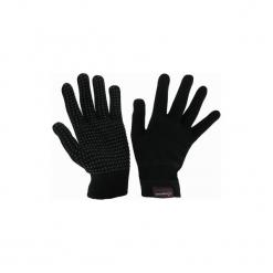 Rękawiczki jeździeckie dzianinowe Tricot czarne. Czarne rękawiczki damskie FOUGANZA, z dzianiny. Za 12,99 zł.