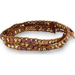 Bransoletki damskie na nogę: Skórzana bransoletka z perłami w kolorze brązowym