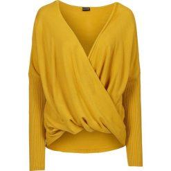Swetry klasyczne damskie: Sweter dzianinowy bonprix miodowy
