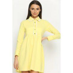 Żółta Sukienka Holiday. Żółte sukienki letnie marki Born2be, s, z koszulowym kołnierzykiem, koszulowe. Za 69,99 zł.