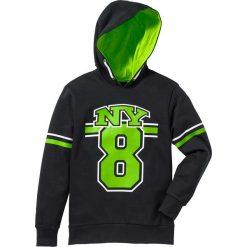 Bluza z kapturem bonprix czarno-zielony neonowy. Czarne bluzy chłopięce rozpinane marki bonprix, m, z aplikacjami, z polaru. Za 49,99 zł.