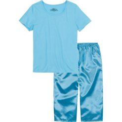 Piżamy damskie: Piżama ze spodniami satynowymi w dł. 3/4 bonprix jasny niebieski