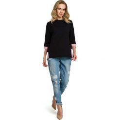 Czarna Bluza 2w1 z Wiązaniem na Boku. Czarne bluzy damskie Molly.pl, l, z krótkim rękawem, krótkie. Za 129,90 zł.