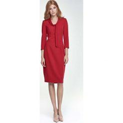 Sukienki: Czerwona Sukienka Elegancka z Wiązaniem przy Dekolcie