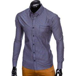 KOSZULA MĘSKA W KRATĘ Z DŁUGIM RĘKAWEM K423 - GRANATOWA/POMARAŃCZOWA. Brązowe koszule męskie na spinki Ombre Clothing, m, z długim rękawem. Za 69,00 zł.