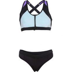 """Bikini z biustonoszem """"opaską"""" z zamkiem (2 części) bonprix czarno-lila-turkusowy. Czarne bikini bonprix. Za 89,99 zł."""