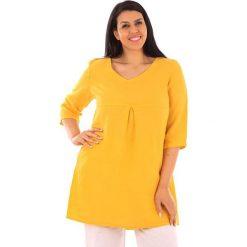 Tuniki damskie: Lniana tunika w kolorze żółtym