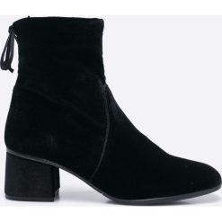 Tamaris - Botki. Szare buty zimowe damskie Tamaris, z materiału, na obcasie. W wyprzedaży za 179,90 zł.