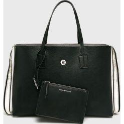 Tommy Hilfiger - Torebka. Czarne shopper bag damskie TOMMY HILFIGER, z materiału, do ręki, duże. Za 649,90 zł.