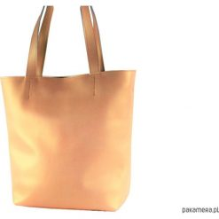 Duża skórzana torebka na ramię złota perła. Żółte torebki klasyczne damskie Pakamera, duże. Za 250,00 zł.