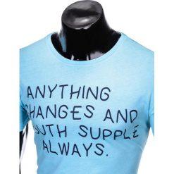 T-SHIRT MĘSKI Z NADRUKIEM S986 - BŁĘKITNY. Szare t-shirty męskie z nadrukiem marki Lacoste, z gumy, na sznurówki, thinsulate. Za 29,00 zł.