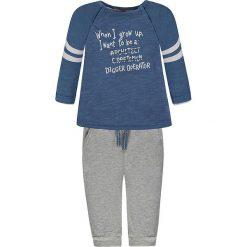 2-częściowy zestaw w kolorze niebiesko-szarym. Niebieskie t-shirty chłopięce z długim rękawem Kanz, z nadrukiem, z bawełny. W wyprzedaży za 49,95 zł.