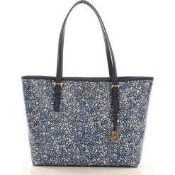 Oryginalna torebka shopper bag MICHAEL KORS NAVY. Niebieskie shopper bag damskie Michael Kors, ze skóry, zdobione. Za 1299,00 zł.
