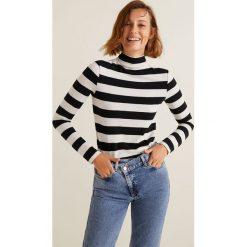 Mango - Bluzka Olivia. Szare bluzki asymetryczne Mango, l, z bawełny, casualowe, z golfem. Za 79,90 zł.