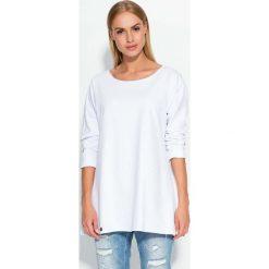 Bluzy damskie: Biała Lekka Bluza Trapezowa