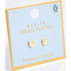 Kolczyki damskie: Kolczyki serduszka z cyrkonią premium – Złoty