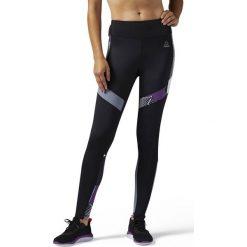 Reebok Spodnie damskie Tight P2 czarno-fioletowo-szare r. S (BQ5540). Szare spodnie sportowe damskie marki Reebok, l, z dzianiny, casualowe, z okrągłym kołnierzem. Za 167,25 zł.