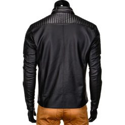 KURTKA MĘSKA PRZEJŚCIOWA SKÓRZANA C325 - CZARNA. Czarne kurtki męskie pikowane Ombre Clothing, m, z poliesteru. Za 139,00 zł.