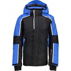 Kurtka narciarska w kolorze czarno-niebieskim. Czarne kurtki chłopięce marki CMP Kids. W wyprzedaży za 207,95 zł.
