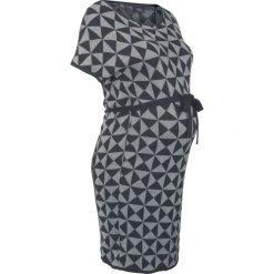 Sukienka dzianinowa ciążowa bonprix czarno-srebrny wzorzysty. Czarne sukienki ciążowe marki bonprix, w geometryczne wzory, z dzianiny, z okrągłym kołnierzem, moda ciążowa, z krótkim rękawem, mini. Za 109,99 zł.