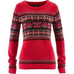 Sweter z okrągłym dekoltem bonprix czerwony wzorzysty. Czerwone swetry klasyczne damskie bonprix, z okrągłym kołnierzem. Za 99,99 zł.