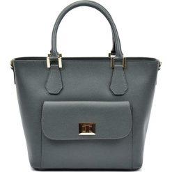 Torebki klasyczne damskie: Skórzana torebka w kolorze szarym – (S)26 x (W)37 x (G)16 cm