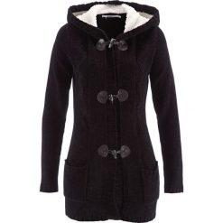 Sweter rozpinany z szenili, długi rękaw bonprix czarny. Czarne swetry rozpinane damskie bonprix. Za 129,99 zł.