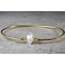 Bransoletki damskie: Pozłacana bransoletka z diamentem Herkimer