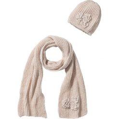 """Czapka i szalik """"Alina"""" (2 części) bonprix beżowy. Szare czapki damskie marki B'TWIN, na zimę, z elastanu. Za 59,99 zł."""