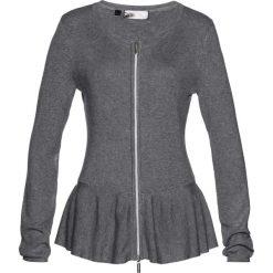 Kardigany damskie: Sweter rozpinany z baskinką bonprix szary melanż