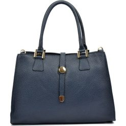 Torebki klasyczne damskie: Skórzana torebka w kolorze granatowym – (S)35 x (W)24 x (G)11 cm