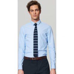 Koszule męskie na spinki: Koszula z mikrowzorem slim fit – Niebieski