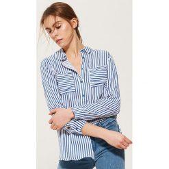 Koszule damskie: Koszula w paski – Granatowy